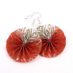runder Ohrring Schmuck in rot-weiß