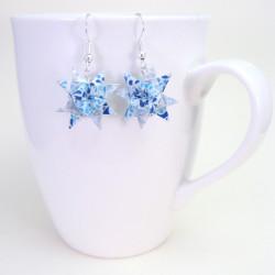 kleine Stern Ohrringe blau weiß