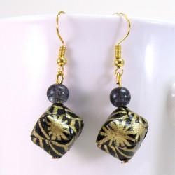 Damen Ohrringe in schwarz-gold